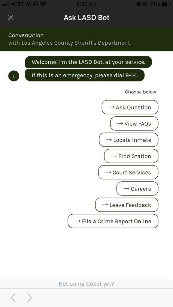 LASD Mobile Gobot Chatbot