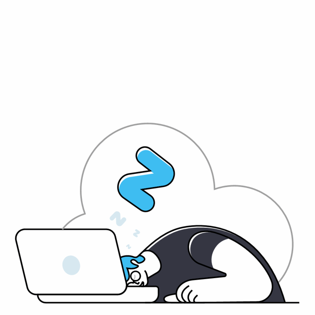 A graphic image of a student leaning over their computer. The student is asleep while the computer remains open.