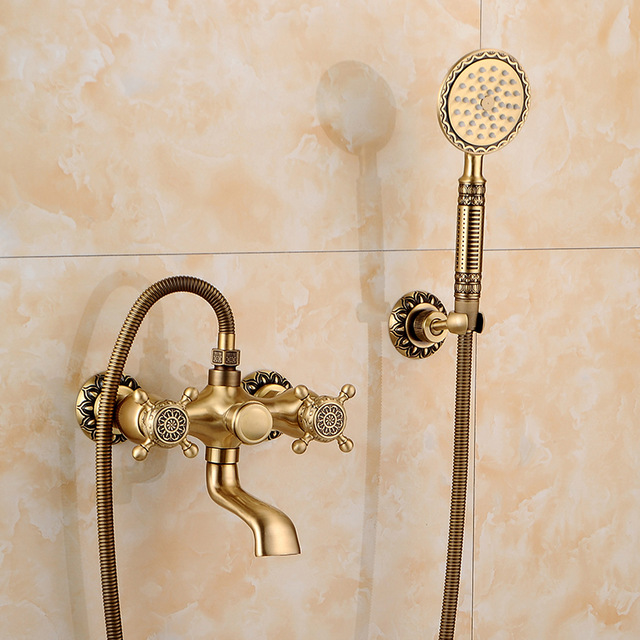antique brass shower faucet out wall mount shower mixer with hot cold crane sanitary ware shower set bathtub mixer taps