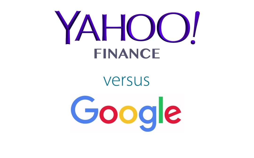 Yahoo Finance versus Google Finance - Get Irked