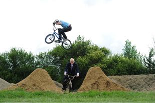 Simon Hall, ELBO Creator jumping Boris Johnson at the Proto-track development.