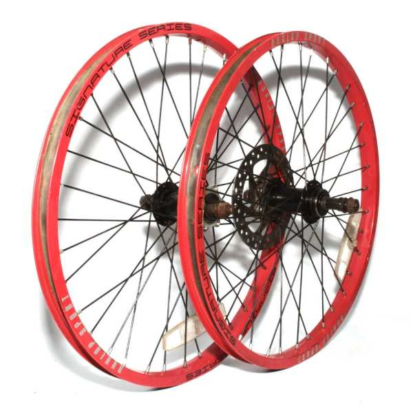 """20"""" Wheels Pair Red Alloy Rims Screw-on 6 Speed Disc"""