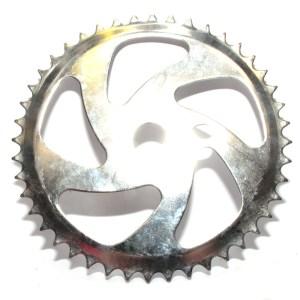 44T BMX One Piece Crank 5 Spoke Twist Classic Chromed Steel Silver
