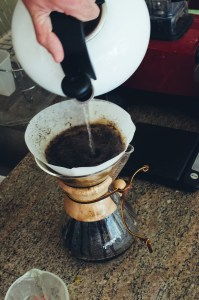 Hot water being poured into a Chemex - Paul Blart