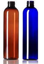 8 oz amber blue PET cosmo round bottle with 24-410 neck finish