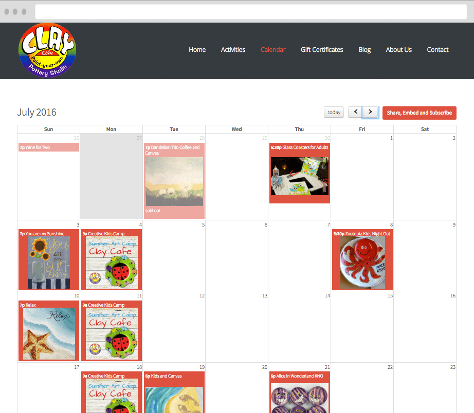 Add your calendar to any website