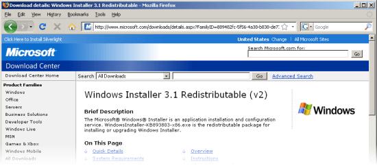 microsoft windows installer 3.1 download