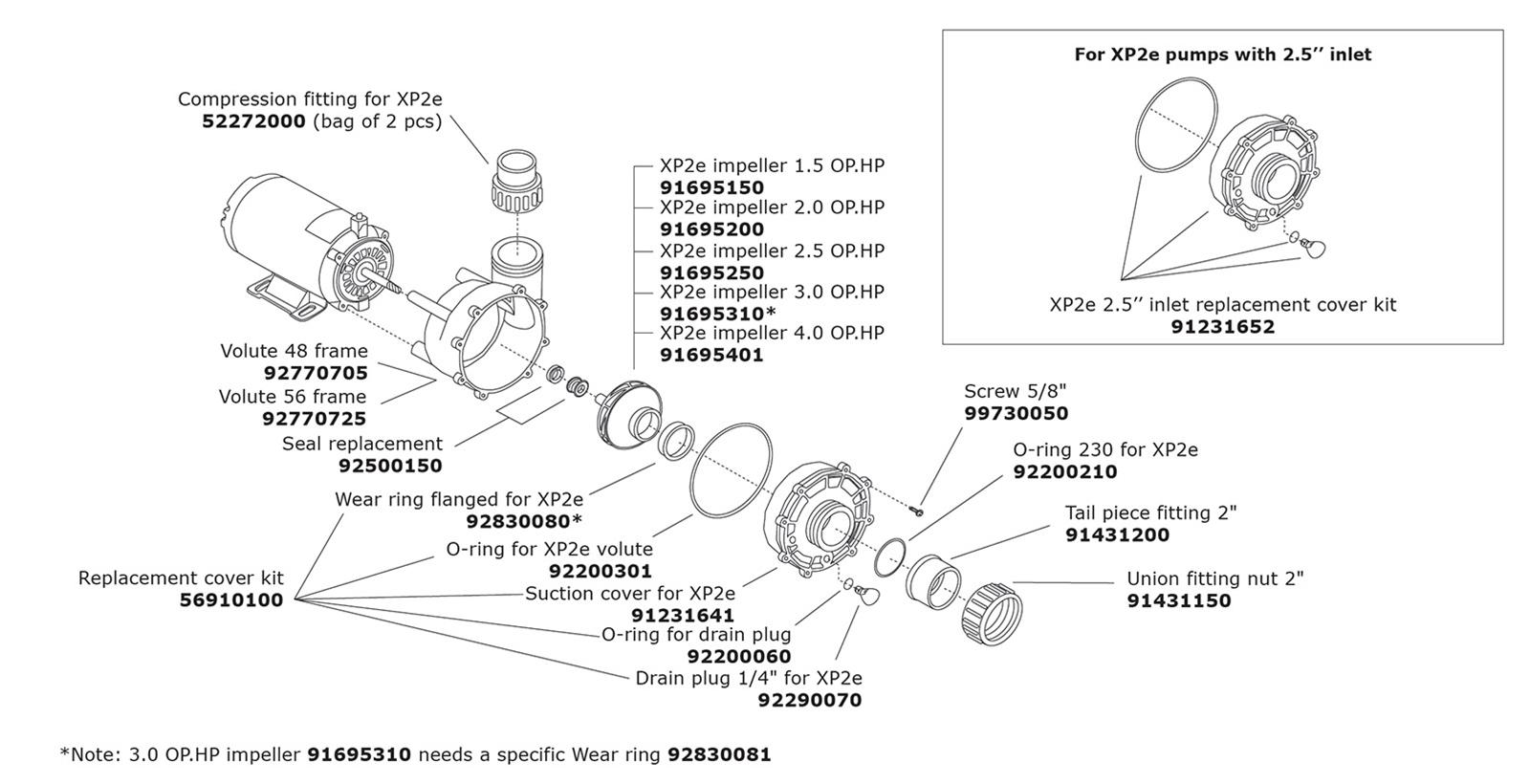 Aqua Flo Flo Master Xp2e Pump Parts