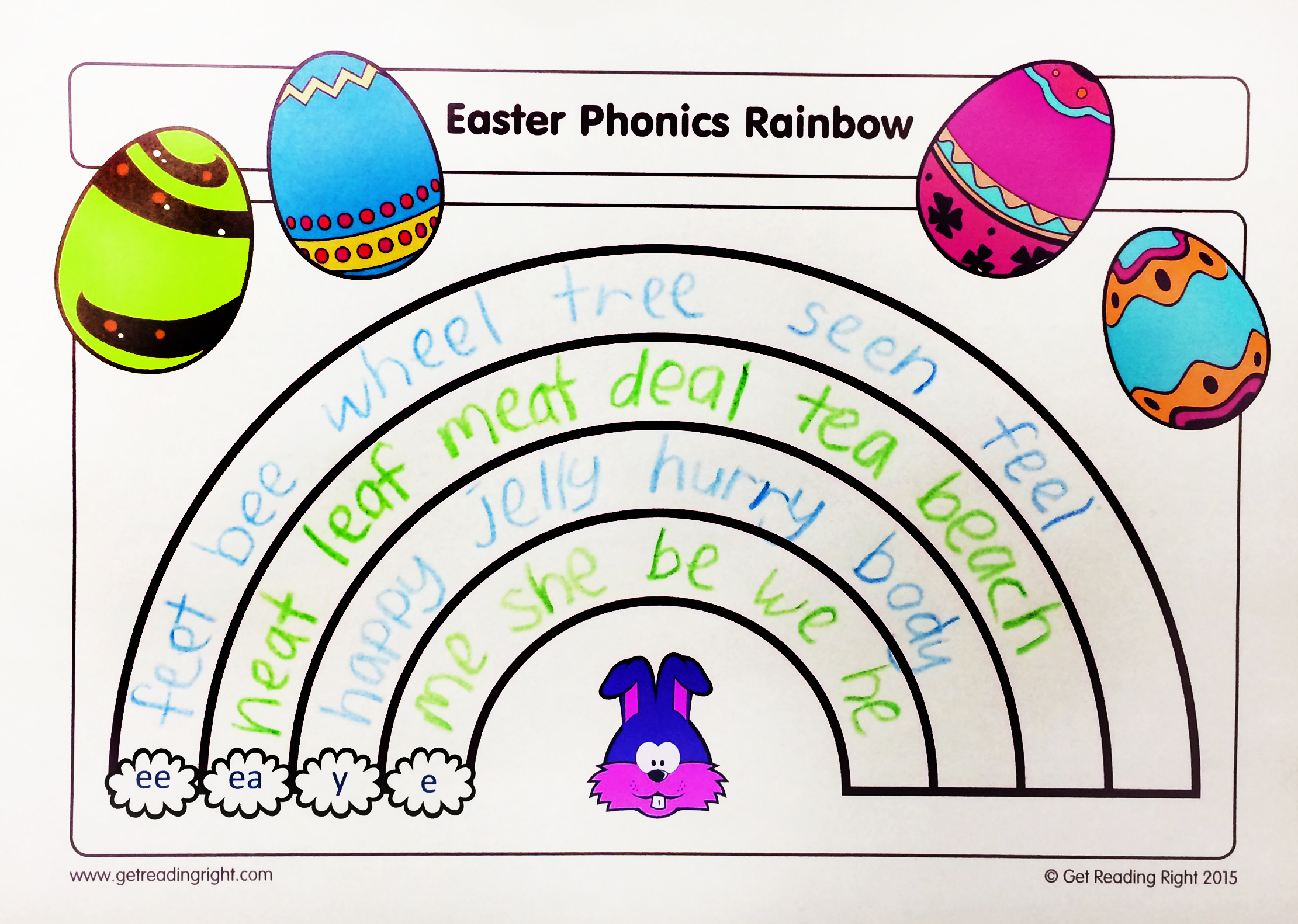 Easter Resource Phonics Rainbow Worksheet