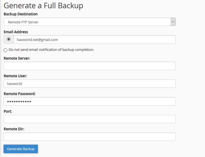 Enter FTP details : Transfer Full Website Over FTP