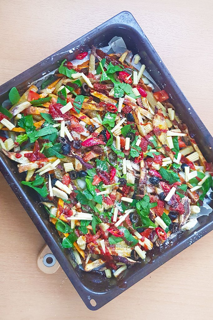 VEGAN OVEN-BAKED LOADED FRIES  with toppings