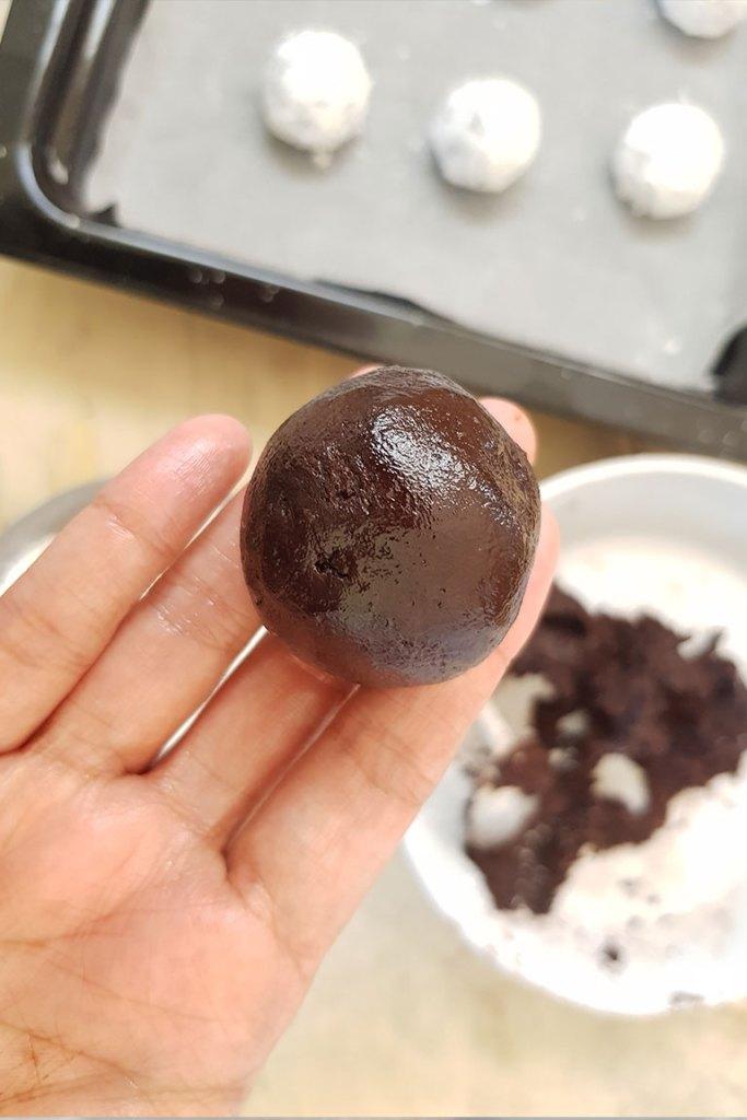 cookie dough ball before baking
