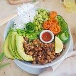 vegan poke bowl recipe card