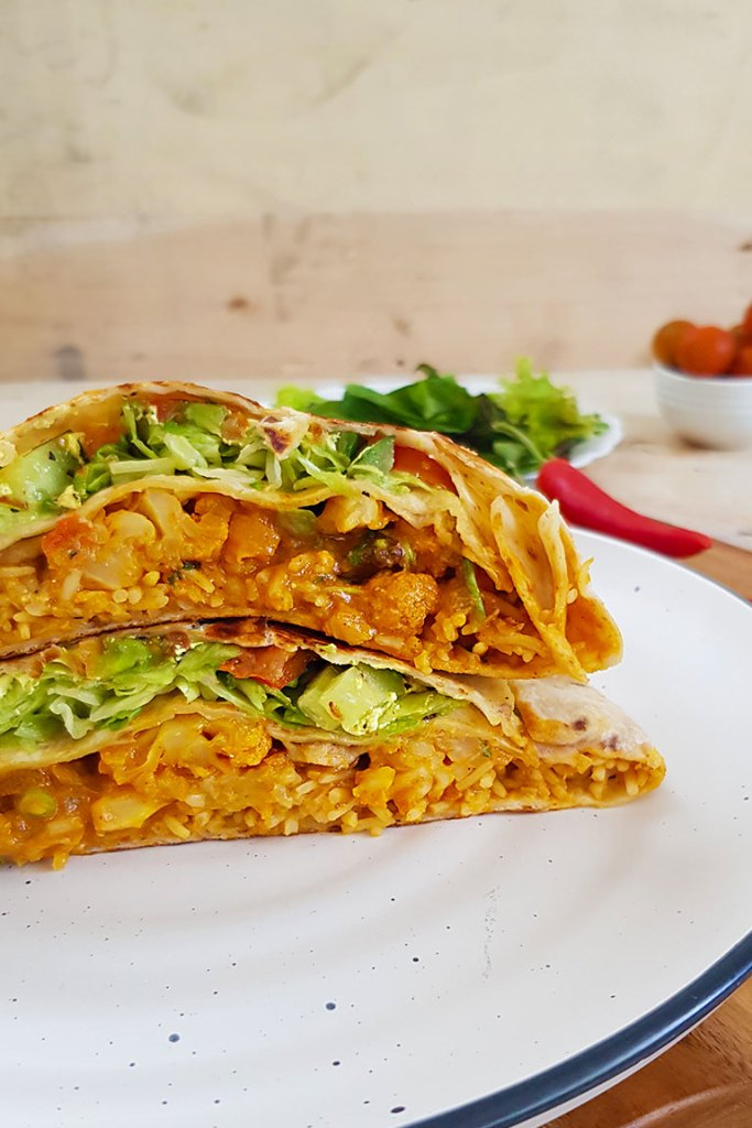 Front view of vegan crunchwrap in a plate