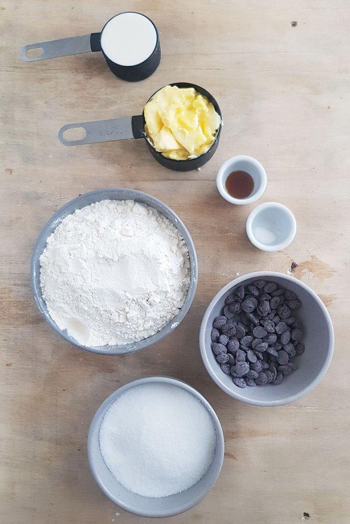 Eggless Chocolate Chip Cookies ingredients.
