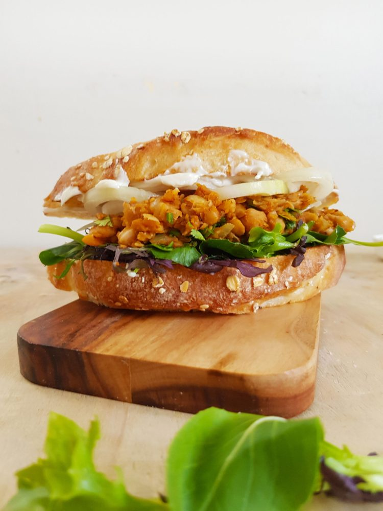 vegan buffalo chickpea sandwich front view