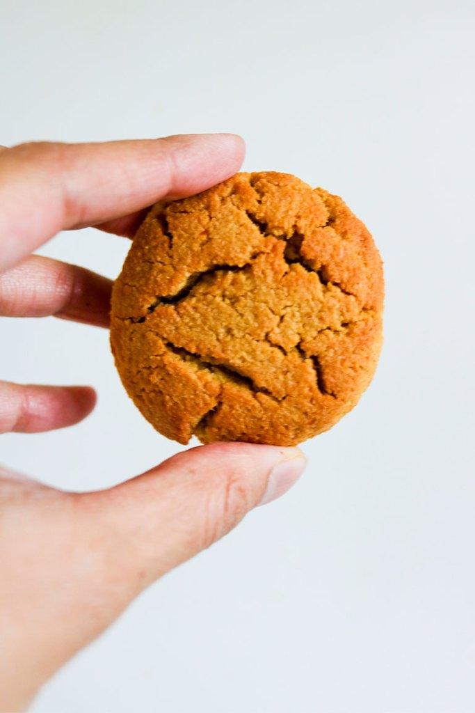 Pumpkin cookie in hand