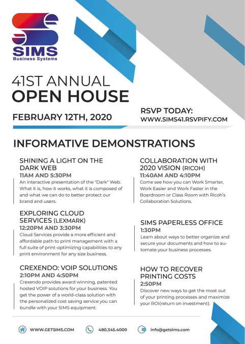 Informative Demos 2/12/20 – Last day to RSVP