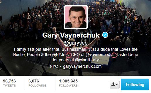 Gary Vaynerchuk - Twitter Bio That Converts Customers