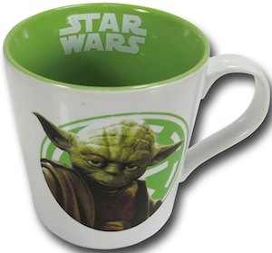 Yoda white and green coffee mug