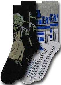 Star Wars Yoda And R2-D2 Socks