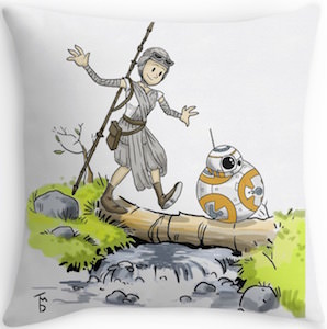 Rey And BB-8 Cartoon Style Pillow