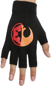 Imperial And Rebel Logo Fingerless Gloves