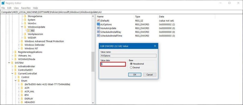 Windows 10 stop automatic updates using Registry