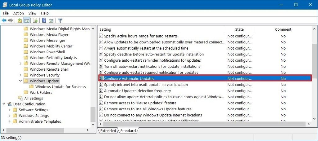 Windows Update group policy settings