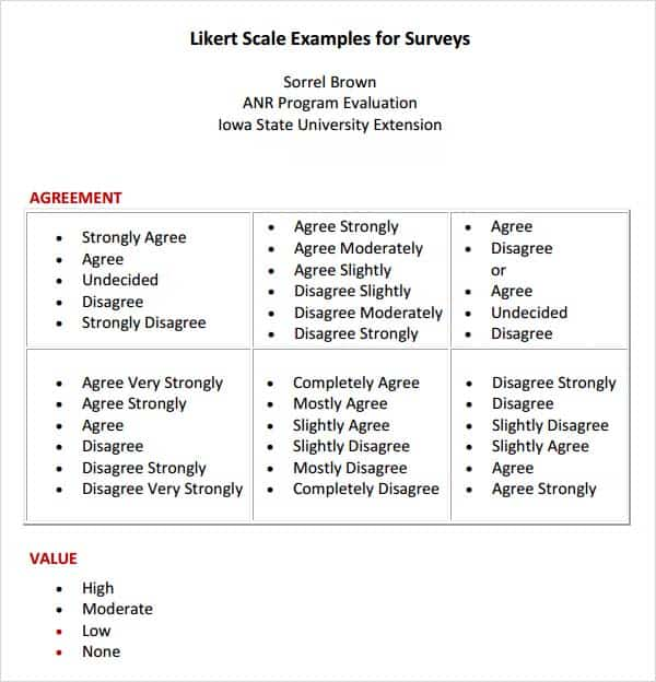 5 Free Likert Scale Templates Word Excel Pdf Formats