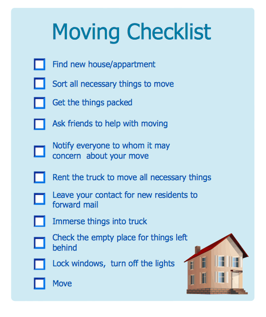 5 free moving checklist templates word excel pdf formats for Moving into a new house checklist