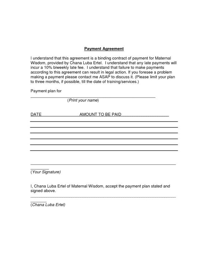 payment agreement template 5