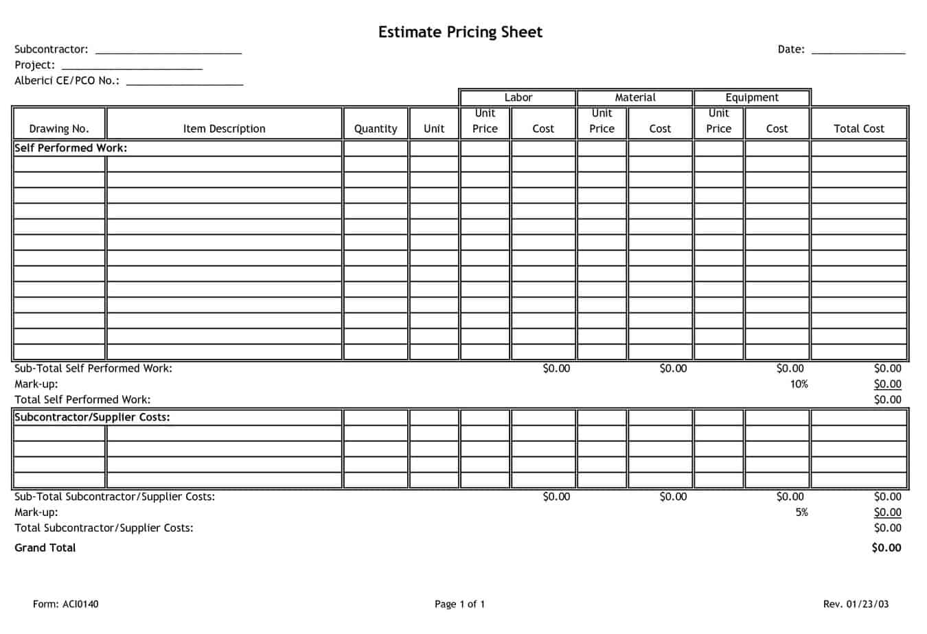 4 Free Pricing Sheet Templates