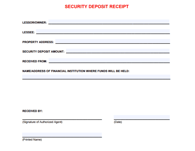 security deposit receipt template 11