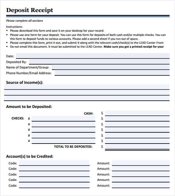 security deposit receipt template 33
