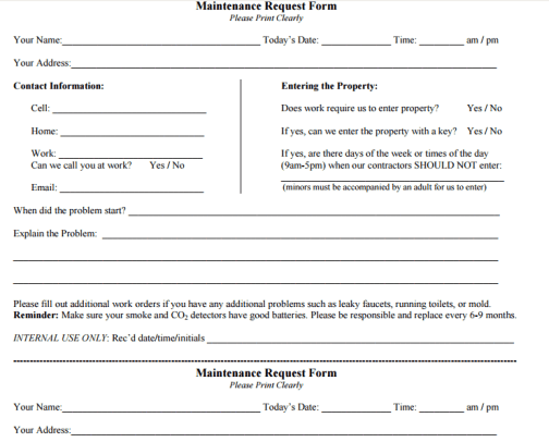 maintenance request form 33