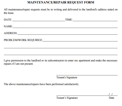 maintenance request form 66