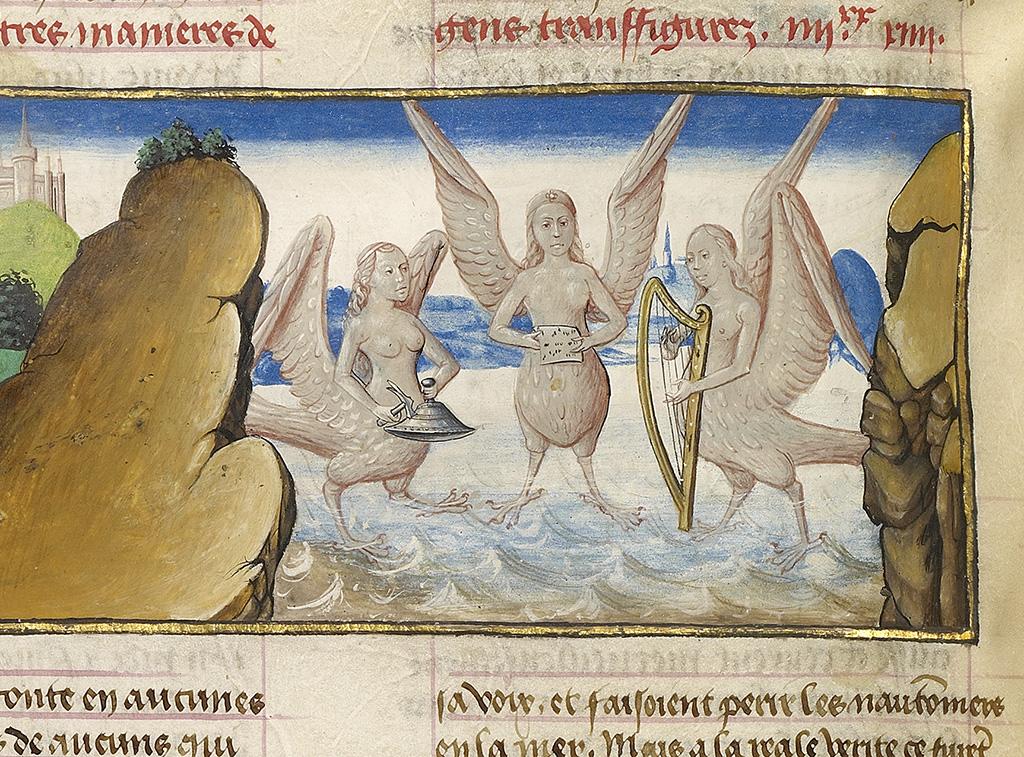 Image result for Medieval manuscript Greek Sirens