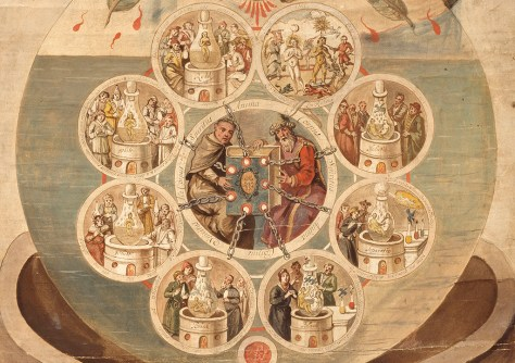 Eight roundels containing laboratory scenes, connected by chains to a book held by two alchemists in a larger, central roundel