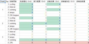 excel spreadsheet training log