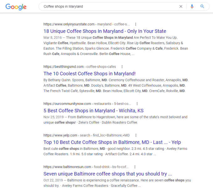 Coffee shops in maryland search results