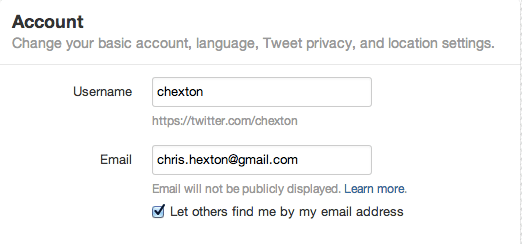 Twitter settings box
