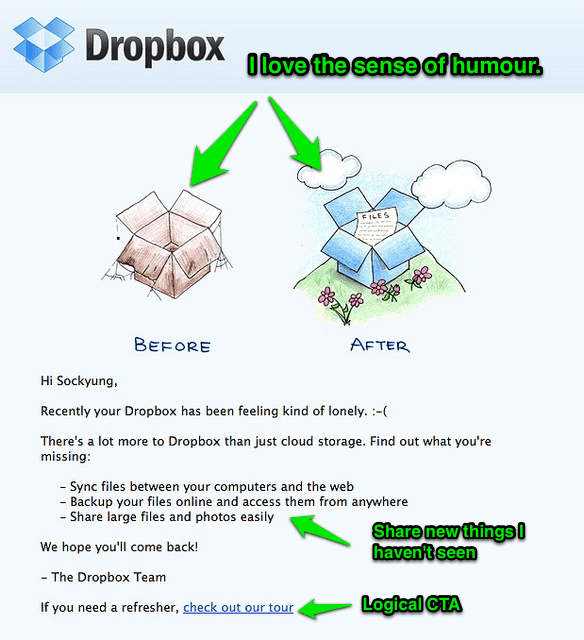 Dropbox Email Marketing Feeling Lonely