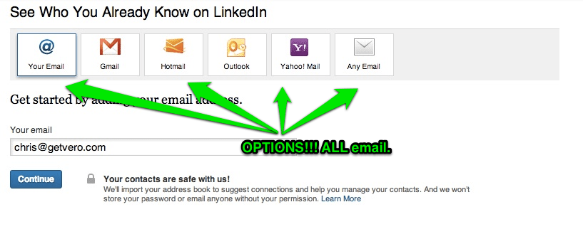 LinkedIn Email Invite a Friend