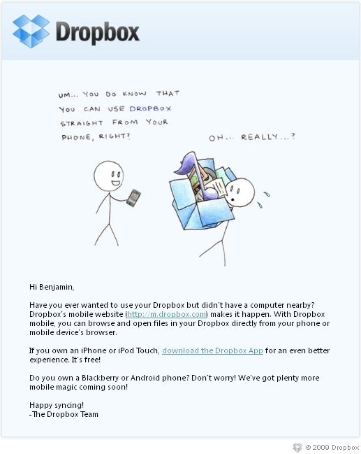Dropbox Email Marketing Mobile