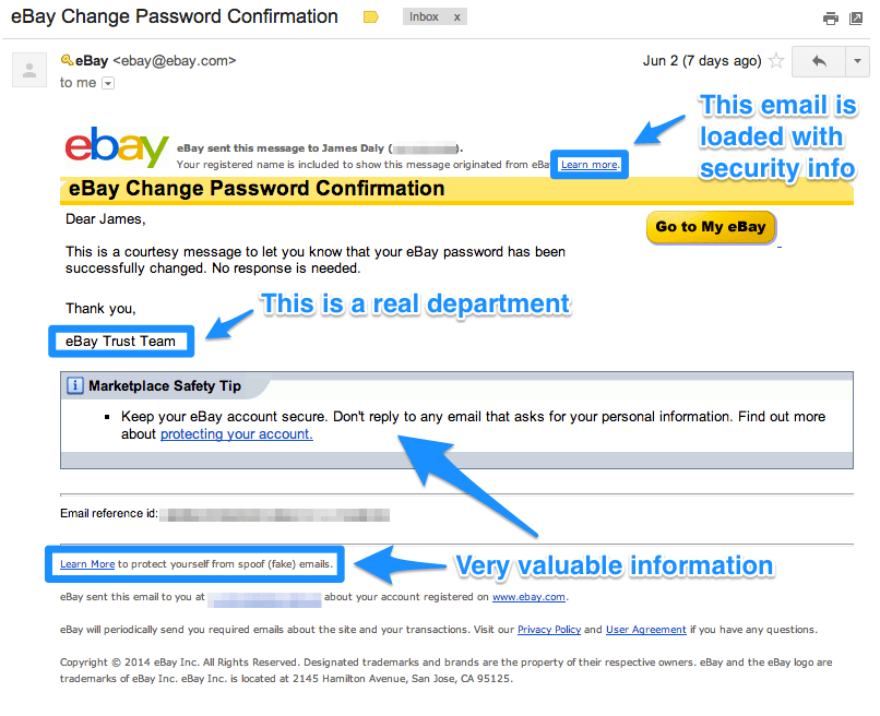 eBay Confirmation Email