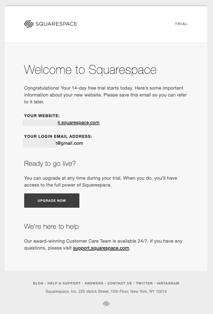 Onboarding email - welcome - squarespace
