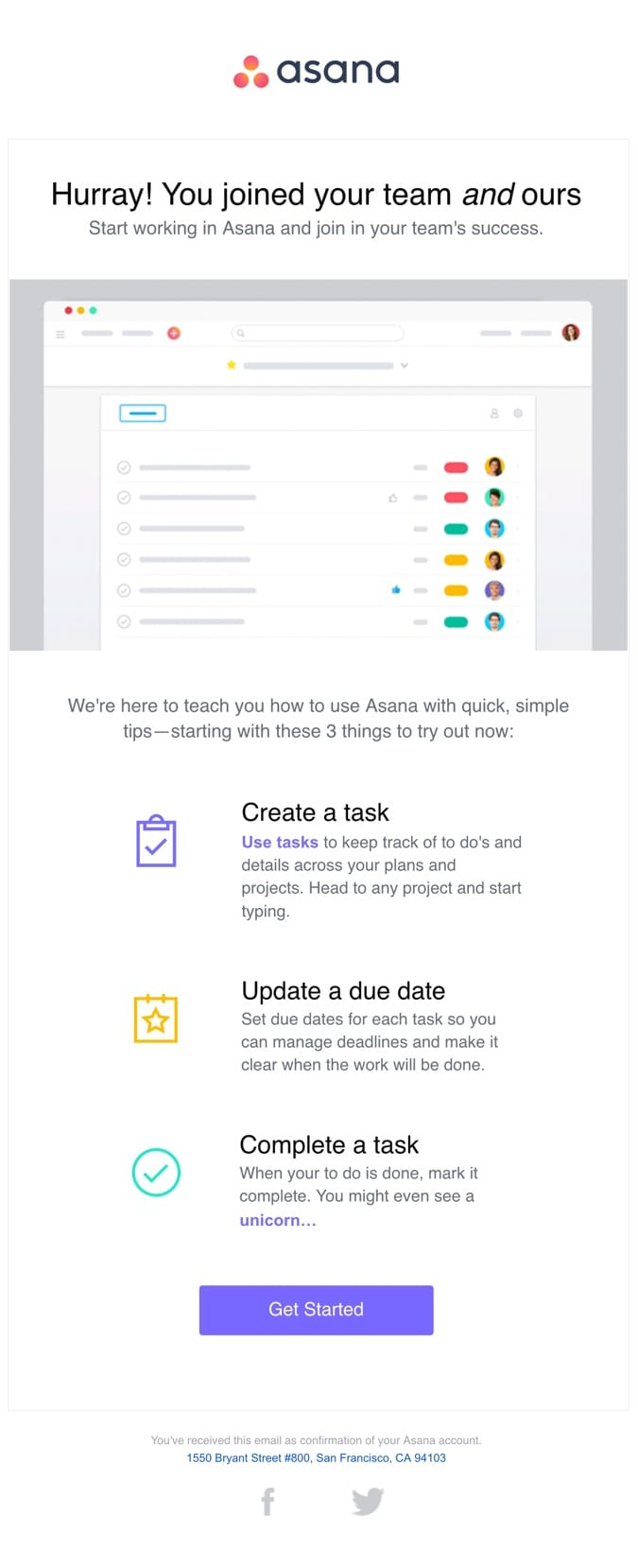 welcome email example asana