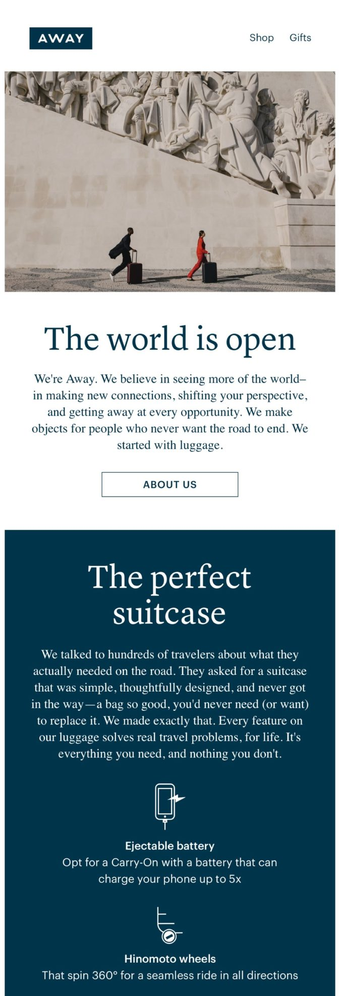 welcome email example away travel
