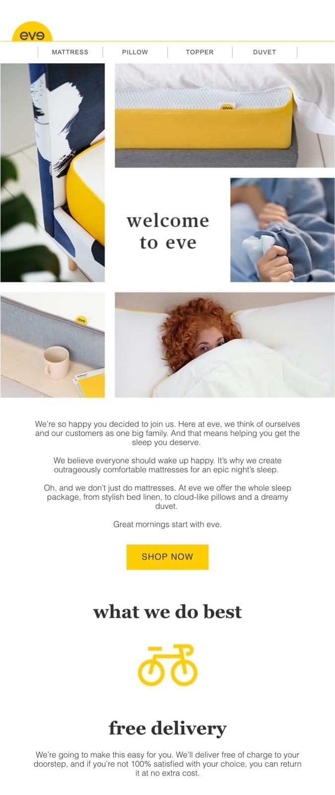 welcome email example eve sleep